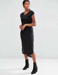 Трикотажное платье миди в рубчик с короткими рукавами Vero Moda