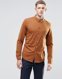 Трикотажная рубашка цвета ржавчины с длинными рукавами ASOS