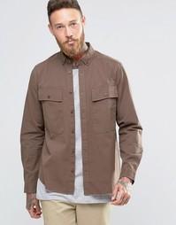 Коричневая рубашка в стиле милитари с необработанным краем ASOS