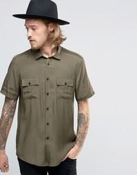Рубашка классического кроя цвета хаки в стиле милитари ASOS - Хаки
