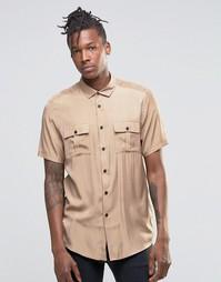 Светло-бежевая рубашка из вискозы в стиле милитари ASOS - Бежевый