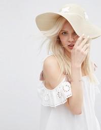 Соломенная шляпа с люверсами и шнуровкой ASOS - Естественный