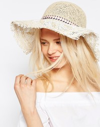 Соломенная широкополая шляпа ASOS - Естественный