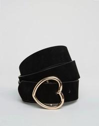 Ремень с пряжкой в форме сердца ASOS - Черный