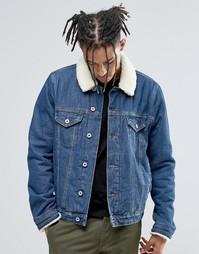 Выбеленная джинсовая куртка с воротником-борг ASOS