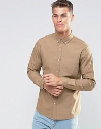 Бежевая саржевая рубашка с длинными рукавами ASOS Laundered - Кэмел
