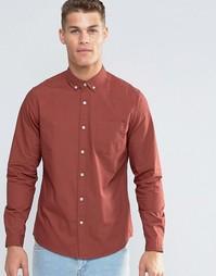 Рыжая рубашка из саржи с длинными рукавами ASOS Laundered