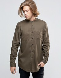 Удлиненная рубашка в стиле милитари с горловиной на пуговицах ASOS