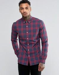 Бордовая рубашка скинни в клетку с длинными рукавами ASOS - Burgundy