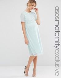 Платье миди для беременных с отделкой жемчугом ASOS Maternity - Мятный