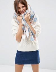 Oversize-шарф натурального цвета в клетку ASOS - Белый