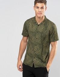 ASOS Drapey Shirt In Crocodile Print In Regular Fit - Кэмел