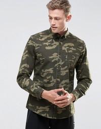 Рубашка с длинными рукавами и камуфляжным принтом ASOS - Зеленый