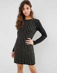 Расшитое бисером платье мини Glamorous - Черный