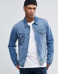 Голубая джинсовая куртка зауженного кроя ASOS - Синий
