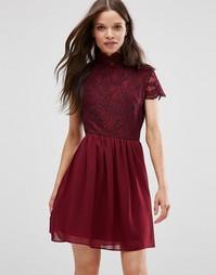 Короткое приталенное платье с кружевным лифом Daisy Street - Burgundy