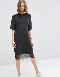Платье-джемпер с кружевной отделкой ASOS - Угольный