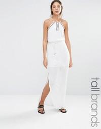 Платье макси с халтером и вышивкой Vero Moda Tall - Белый