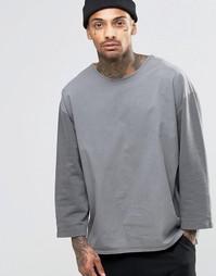 Темно-серый свитшот с ткаными рукавами 3/4 ASOS - Серый