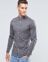 Серая облегающая рубашка с длинными рукавами ASOS - Серый