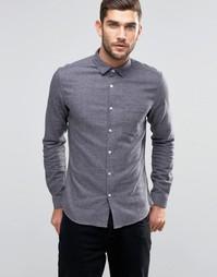 Серая меланжевая рубашка скинни с длинными рукавами ASOS - Серый