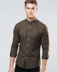 Облегающая оксфордская рубашка цвета хаки с логотипом ASOS - Mid khaki