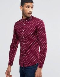 Бордовая рубашка суперзауженного кроя в горошек ASOS - Burgundy