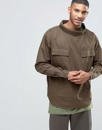 Рубашка хаки через голову в стиле милитари с высоким воротом ASOS