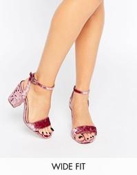 Босоножки на каблуке ASOS HOSTESS - Розовый бархат
