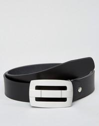 Кожаный ремень с металлической пряжкой Jack & Jones - Черный