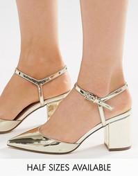 Остроносые туфли на каблуке ASOS SATURDAY - Золотой