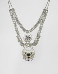 Многоярусное ожерелье с синими камнями Missguided - Серебряный