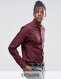 Строгая рубашка скинни в клетку с маленьким воротником Noak - Красный