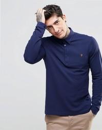Темно-синяя футболка-поло узкого кроя с длинными рукавами Farah