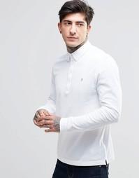 Белая футболка-поло узкого кроя с длинными рукавами Farah - Белый