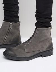 Замшевые ботинки на шнуровке Walk London Stratford - Серый