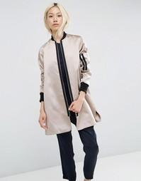 Атласная расклешенная куртка-пилот ASOS - Mink
