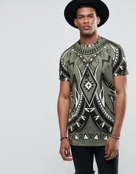 Удлиненная футболка с принтом Jaded London - Зеленый