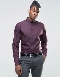 Строгая рубашка с воротником на пуговицах Selected Homme - Burgundy