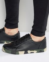 Черные кроссовки на шнуровке с камуфляжной подошвой ASOS - Черный
