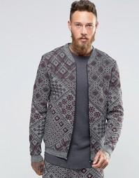 Трикотажная куртка-пилот с ацтекским принтом ASOS - Серый