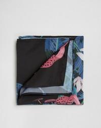 Черный платок для пиджака с цветочным принтом ASOS - Черный