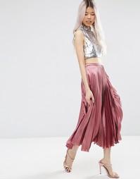 Плиссированная атласная юбка миди ASOS - Сиреневый