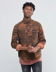 Камуфляжная рубашка навыпуск ASOS - Оранжевый