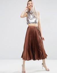 Плиссированная атласная юбка миди ASOS - Шоколадный