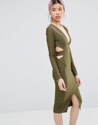 Платье миди с вырезами Daisy Street - Хаки