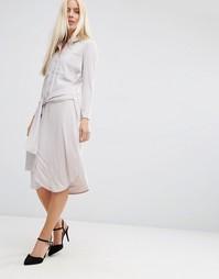 Платье-рубашка миди с завязкой спереди ASOS - Серый