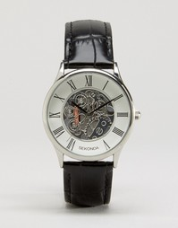 Часы с черным кожаным ремешком и открытым механизмом Sekonda эксклюзив