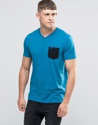Бирюзовая футболка слим с контрастным карманом Hollister - Бирюзовый