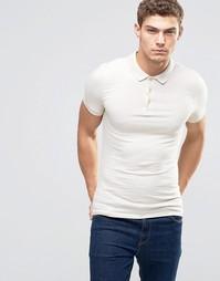 Бежевая облегающая футболка-поло ASOS - White cap grey